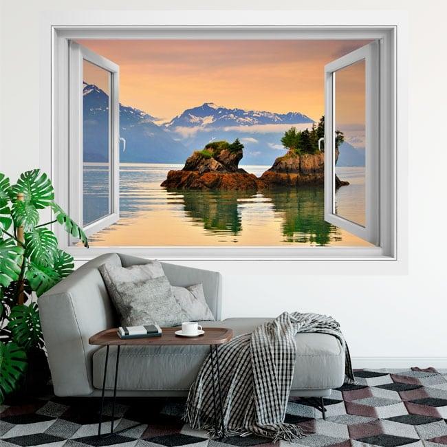Vinyl windows sunset at prince william alaska 3d