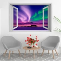 Vinyl windows aurora borealis or polar 3d