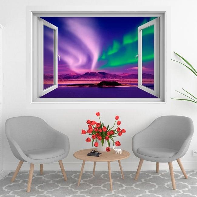 Vinyl windows aurora borealis or polar 3d