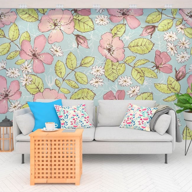 Wall murals of vinyl flowers to decorate