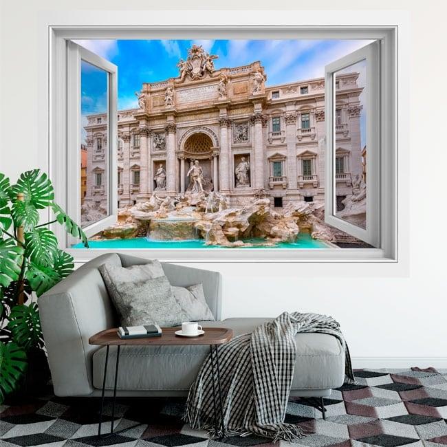 Adhesive vinyl windows rome fontana di trevi 3d