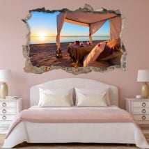 Vinyl romantic sunset on the beach 3d