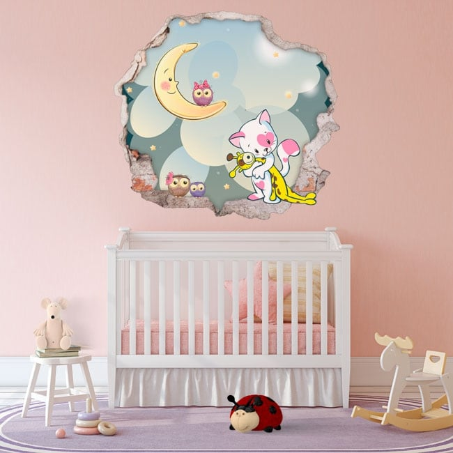 Children's vinyl hole wall sweet dreams 3d