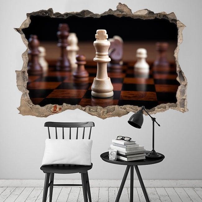 Vinyl 3d king chess hole wall