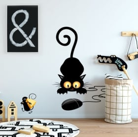 Decorative vinyl and stickers cat and mouse
