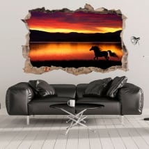 Vinyls 3d horse and nature hole wall