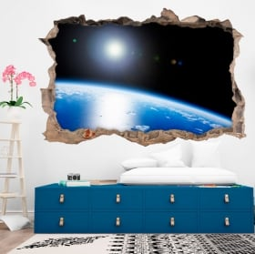 Vinyl 3d planet earth hole wall