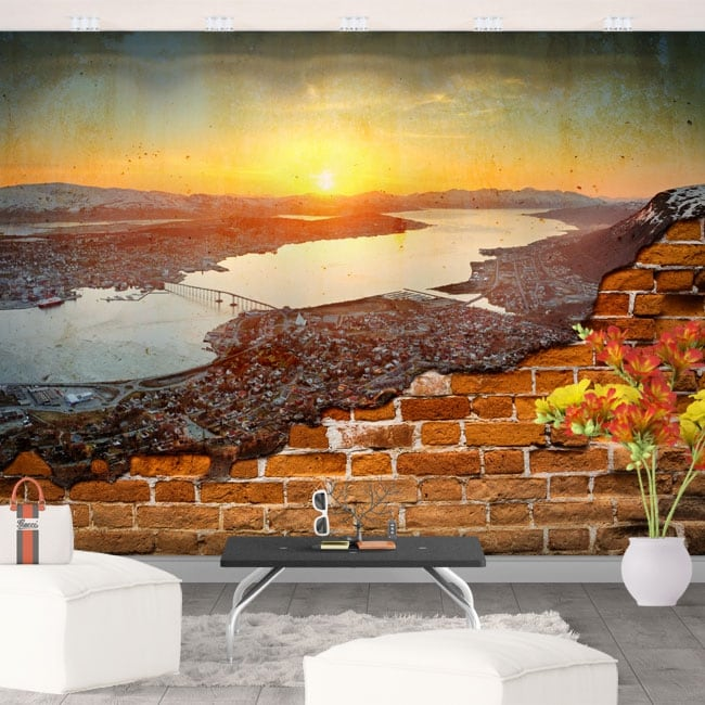 Wall murals sunset in norway broken wall