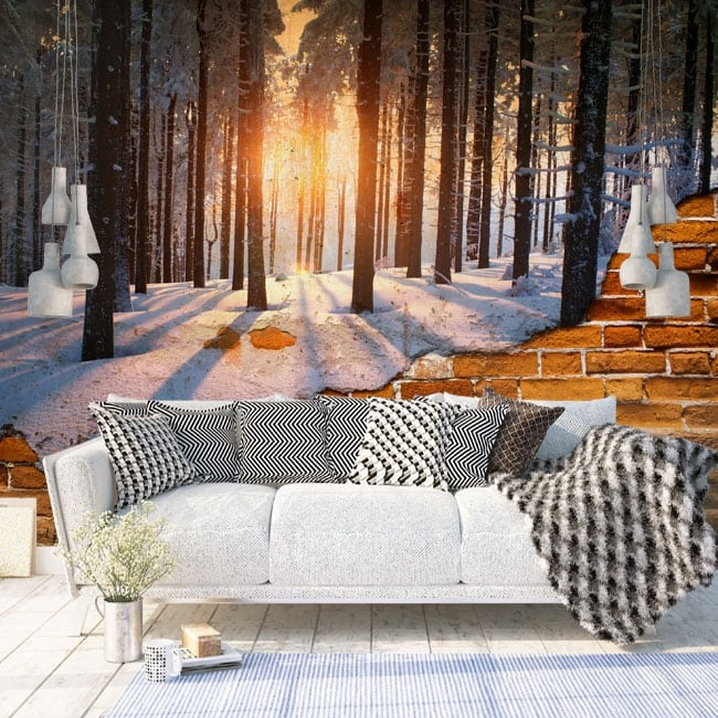 Photo murals broken wall sunset trees winter
