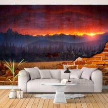 Photo murals broken wall sunset in nature