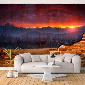 Photo murals sunset in the mountains broken wall
