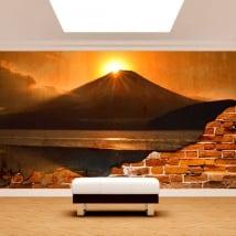 Photo mural broken wall sunset mount fuji lake kawaguchi
