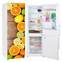 Vinyl and stickers decorate refrigerators fruit wood background