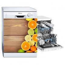 Vinyl and stickers decorate dishwasher fruits wood background