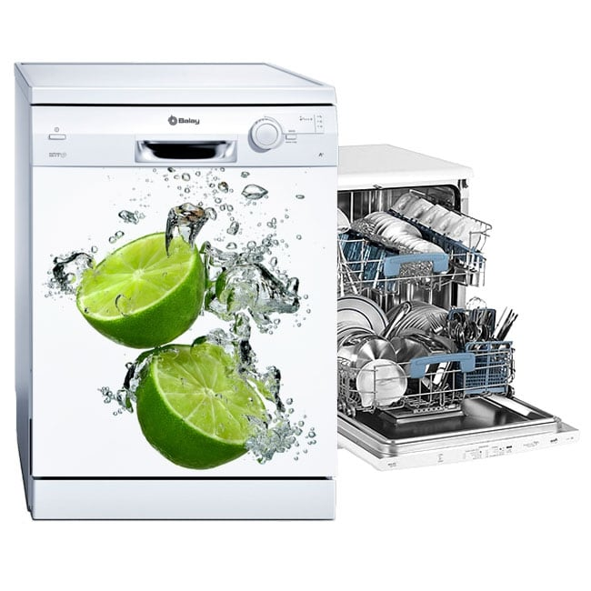 Vinyl and stickers decorate dishwasher lemons in the water