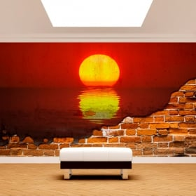 Vinyl murals sunset mount fuji broken wall