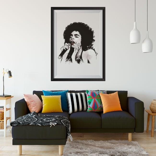 Vinyls female singer jazz framed picture 3d effect