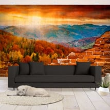 Murals vinyl sunset in the mountains broken wall