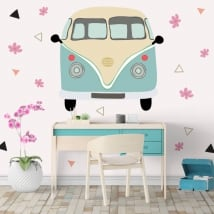 Vinyl volkswagen t1 kombi with flowers and triangles