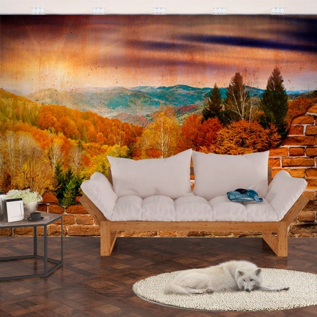 Vinyl murals sunset mountains broken wall effect