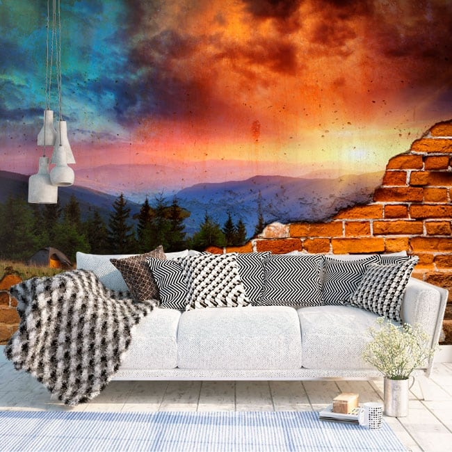 Murals broken wall effect sunset mountains