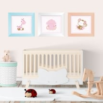 Vinyl children's animals framed pictures 3d effect