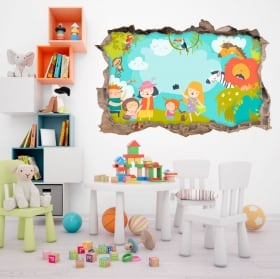 Vinyl and stickers for children family in the zoo 3d