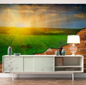 Murals sunset in the field broken wall effect