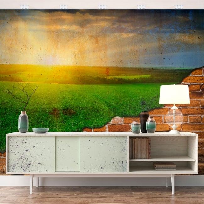 Photo murals sun on the horizon broken wall effect