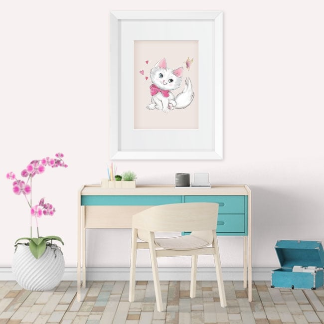 Vinyl and stickers cat and butterfly 3d effect picture
