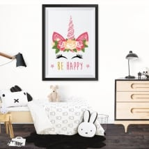 Adhesive vinyl unicorn be happy 3d effect picture