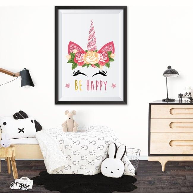 Adhesive vinyl unicorn be happy 3d effect picture
