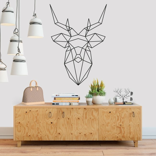 Decorative vinyl geometric deer head origami