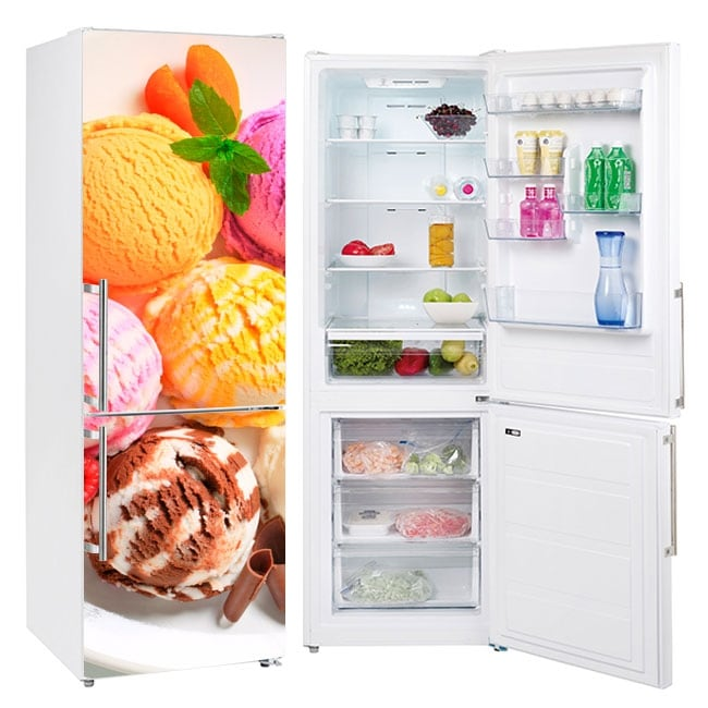 Vinyl and stickers to decorate refrigerators ice creams