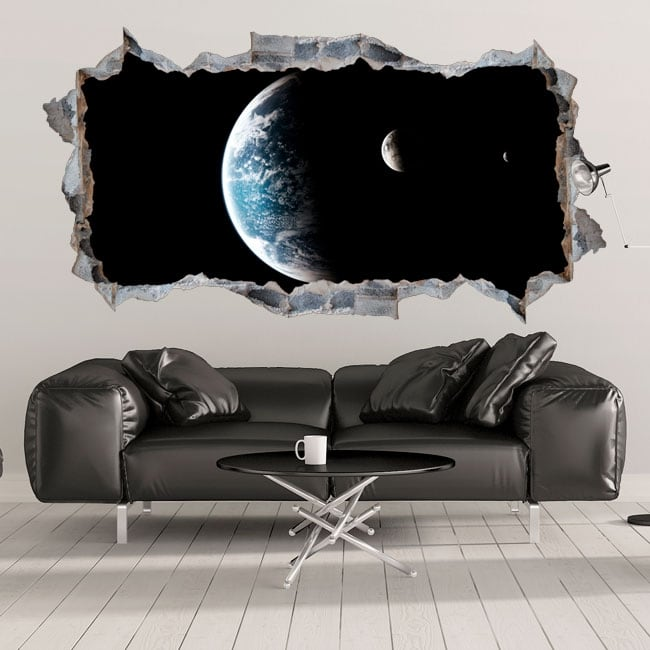 Vinyls planet earth and moon 3d hole in the wall