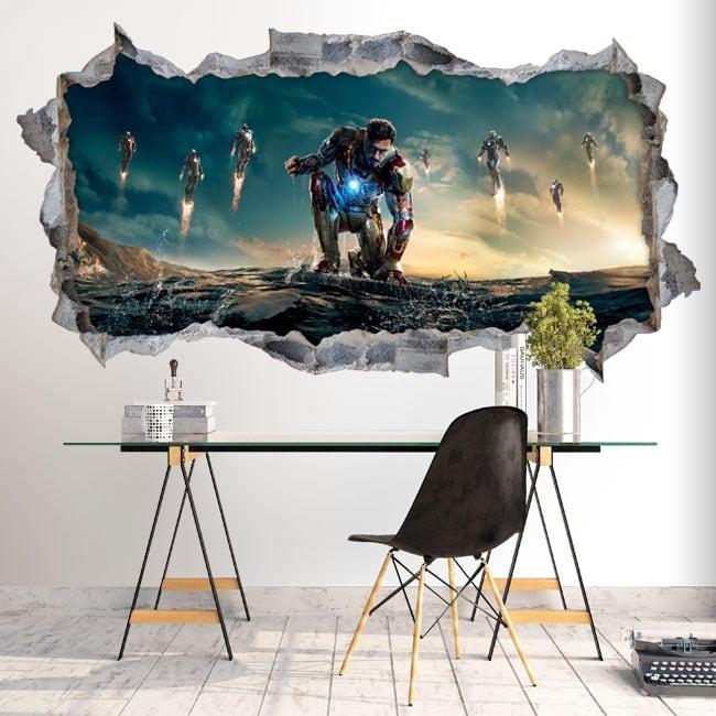 Decorative vinyl iron man 3 hole wall 3d