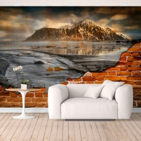 Vinyl murals islands lofoten norway broken wall effect