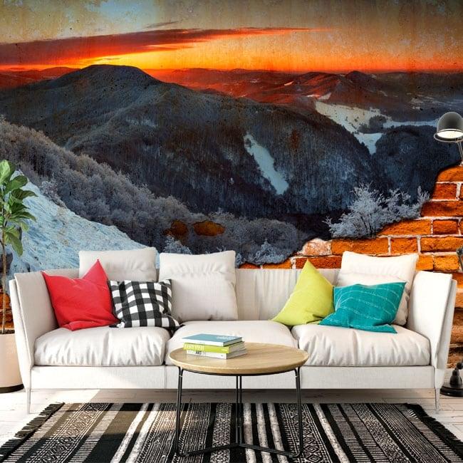 Vinyl murals sunrise in the mountains broken wall effect