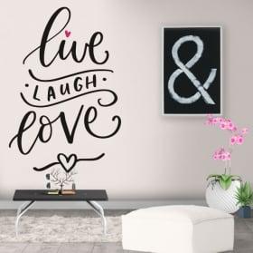Decorative vinyl phrase in english live laugh love