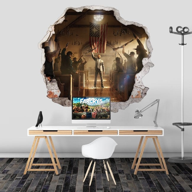 Vinyl video game far cry 5 hole wall 3d