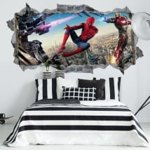 Vinyl walls iron man and spiderman 3d
