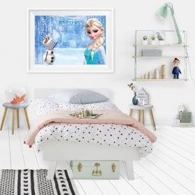 Disney vinyl frozen elsa and olaf picture effect 3d