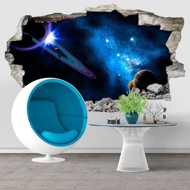 Decorative vinyl galaxy hole wall 3d