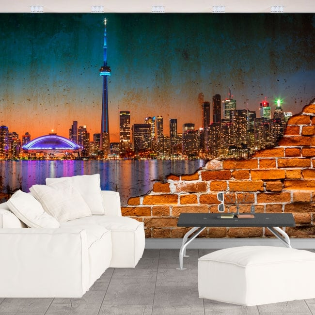 Murals of canada city night effect broken wall