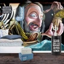 Murals and vinyl urban art graffiti