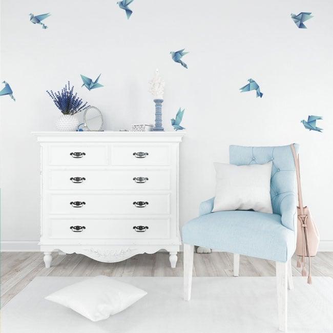Decorative vinyl and stickers origami birds