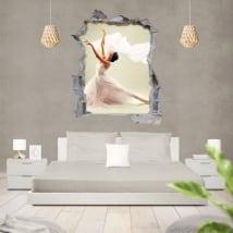 Vinyl ballet woman silhouette 3d wall hole