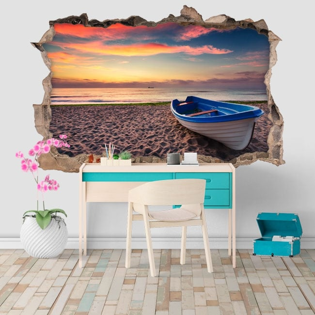 Vinyl and stickers sunset on the beach hole 3d wall