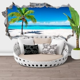 Decorative vinyl 3d palm tree panoramic beach