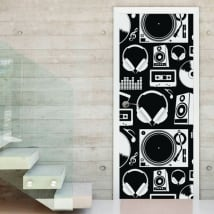 Decorative vinyl music decorating doors and cupboards